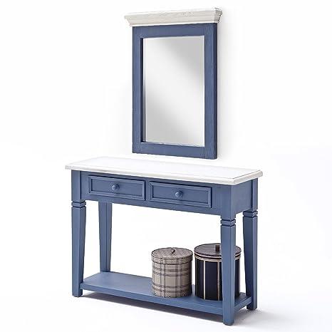 Anrichte Falun mit Spiegel Vintage Shabby Esszimmer Kommode Kiefer Massiv Blau Weiß
