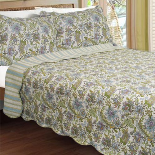 [Valley of the Winds] 100% Cotton 3PC Classic Floral Vermicelli-Quilted Quilt Set (King Size)