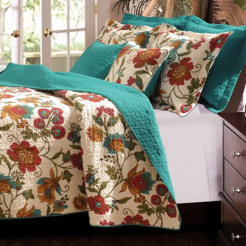 Tropical Floral Cotton Reversible Blue/Green Teal Bedding Quilt Set Twin front-1075142