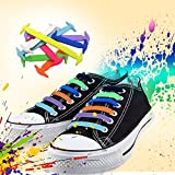 Homar No Tie Shoelaces for Kids and Adults - Best in Sports Fan Shoelaces - Waterproof Silicon Flat Elastic Athletic Running Shoe Laces with Multicolor for Sneaker Boots Board Shoes and Casual Shoes
