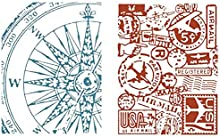Sizzix Texture Fades Embossing Folders By Tim Holtz 2/Pkg-Airmail & Compass