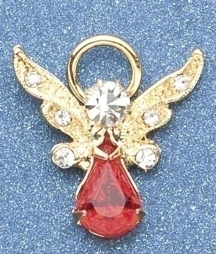 Pack of 8 Religious July Birthstone Jeweled Angel Pins 1