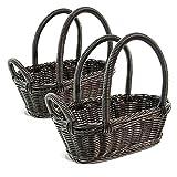 Colorbasket 31324-101 Hand Woven Waterproof Wine Bottle Basket, Black, Set of 2