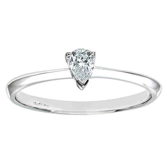 Naava Ladies Engagement Ring, 9 Carat White Gold set with Solitaire Pear Diamond, 0.15 Carat Diamond Weight