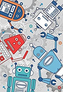 KIDS ROBOTS COGS GREY TEAL BLUE RED 2.32M x 1.58M WALL ART MURAL by Mural
