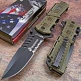 Usmc Marines Desert Spring Assisted Opening Tactical Rescue Folding Pocket Knife (Color: Tan)