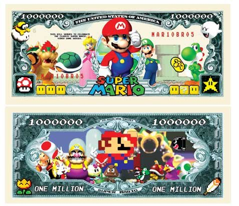 Set of 10 - Super Mario Brothers Million Dollar Bill