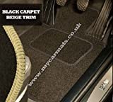 Citroen C4 (2003 to 2010) Black Car Mats + Beige Trim