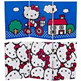 Oriental Furniture 2 Ft. Tall Double Sided Hello Kitty Bicycle Canvas Room Divider
