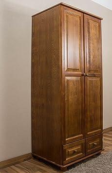 Kleiderschrank 80 cm breit, Farbe: Eiche, Kiefer Massiv