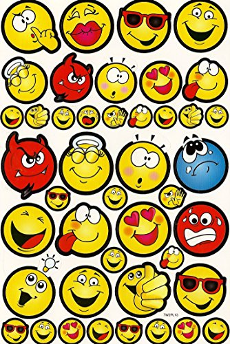 258 Emoticon Stickers (6 sheets with 43 stickers per sheet)
