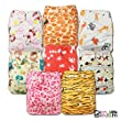 LittleBloom, Reusable Pocket Cloth Nappy, Fastener: Popper, Set of 8, Patterns 812, With 8 Bamboo Inserts, 6533