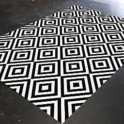 HawkerPeddler Nursery Geometric Decor Bedroom Modern Floor Area Black and White 5ft x 4ft Thin Rug