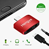 USB Type C to 3.5mm Splitter Aux Audio Jack Headphones Adapter 2 In 1 Charger Converter (Can Not Support Google Phone) (Red) (Color: Red)