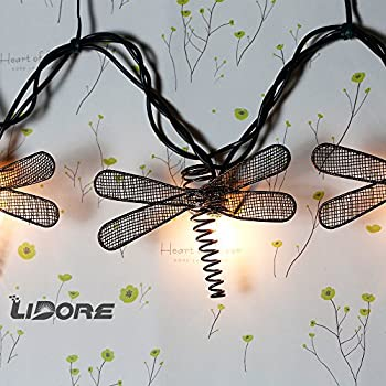 LIDORE Set of 10 Metal Dragonfly Patio String Light. Ideal For Indoor/Outdoor Decoration. Warm White Glow.