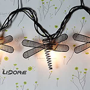Metal Dragonfly String Lights : Amazon.com : LIDORE Set of 10 Metal Dragonfly Patio String Light. Ideal For Indoor/Outdoor ...