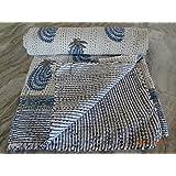 Hand Block Print Kantha Quilts Summer Blanket (white)