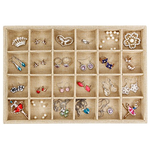 Valdler Sackcloth Stackable 24 Grid Jewelry Tray Showcase Display Organizer (Jewelry Drawer Organizer Tray compare prices)