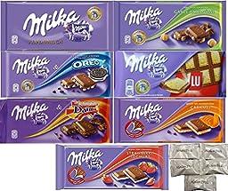 Assorted 7 Milka Chocolate (Oreo, Alpine Milk, LU, Milka Whole Nuts, Daim, Caramel, Strawberry). Includes Our Exclusive HolanDeli Chocolate Mints