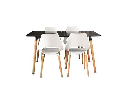 Conjunto mesa Eames NEGRA 140 x 80 cm. + 4 silla F09-2W
