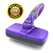 #1 Best Quality Self Cleaning Slicker Brush - Gently Removes Loose Undercoat Mats and Tangled Hair - Your Dog or Cat Will Love Being Brushed with the Hertzko Grooming Brush - 100% Satisfaction and Money Back Guarantee !