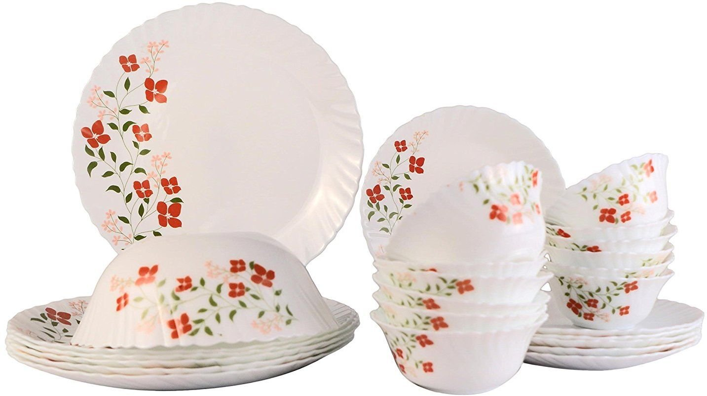Amazon: Larah Janus Opalware Glass Dinner Set, 25-Pieces, White @ Rs.1,999/-