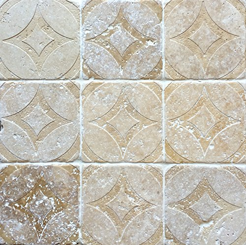 Carved 4x4 Accent Circa Design Walnut Travertine Tiles Decorative Insert