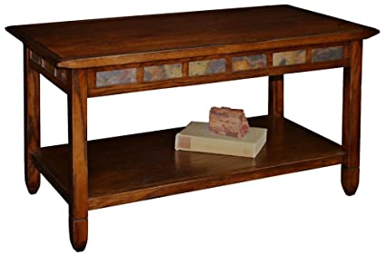 Leick Furniture Rustic Slate Coffee Table, Rustic Oak
