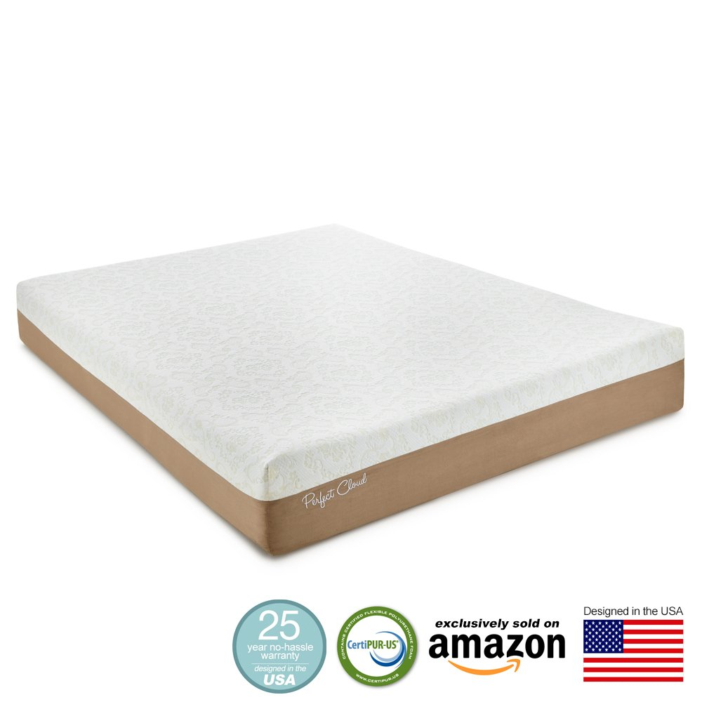 Perfect Cloud Atlas Gel-Plus 10-Inch Queen Size Memory Foam Mattress – 2015 Model Featuring New Gel Cool Visco – 25 Year Warranty