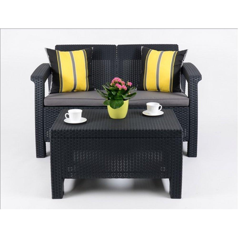 JUSThome Corfu Sofa Gartenmöbel Sitzgruppe Bank + Tisch in Rattan-Optik Anthrazit Grau