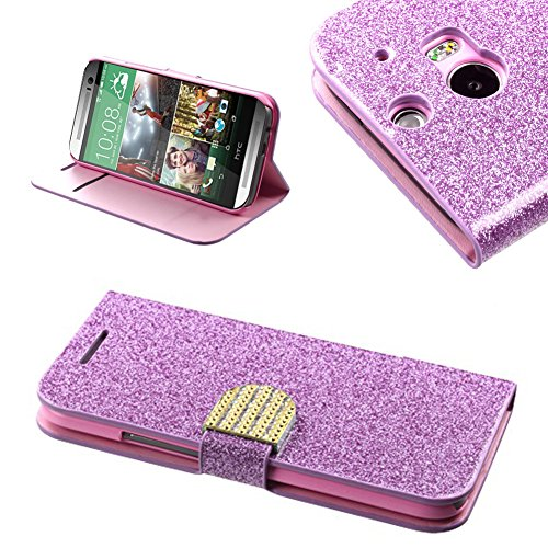 Mylife Pink Glitter {Sparkle Design Magnetic Tab Design} Faux Leather (Card, Cash And Id Holder + Magnetic Closing) Slim Wallet For The All-New Htc One M8 Android Smartphone - Aka, 2Nd Gen Htc One (External Textured Synthetic Leather With Magnetic Clip +