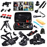 EEEKit Outdoor Sports Professinal 21-in-1 Kit for GoPro Hero4 Black/Silver Hero 4/3+/3/2/1, Shockproof Travel Storage Carry Case Box Suit Bag + Head Strap Mount + Chest Body Strap Belt Mount + 360 Degree Rotating Wrist Mount Holder + Bike Handlebar Holder + Tripod Stand Mount + Extendable Handle Monopod + Suction Cup Mount Holder + Floating Handle Grip Mount + 2 Pack Surface J-Hook + 2 Pack Curved Adhesive Mounts + 2 Pack Flat Adhesive Mounts + 3 Pack Long Screw Bolt + Wrench Spanner Screw Tool
