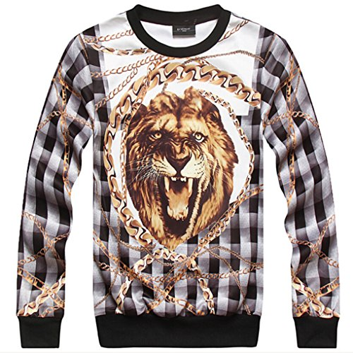 Tm Men Hip Hop Cotton Round Neck Fashion Lion Printing Hoodie Sweater Sweatshirt