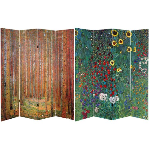 Oriental Furniture 6 ft. Tall Double Sided Works of Klimt Room Divider - Tannenwald/Farm Garden