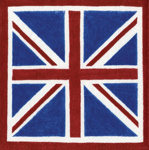 Entertaining with Caspari Union Jack Paper Cocktail Napkins, Pack of 20 (British Beverages compare prices)