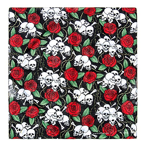 Bandana Skull & Rose Blue Banana