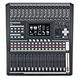 Phonic IS16 16-Input 8-Bus Digital Mixing Console with Color Touch Screen and VGA Output; 31-band GEQ available on EFX 1 and Main Out, 15-band GEQ on EFX 2; Digital AES/EBU Input and Output