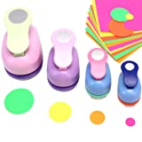 4 pcs Cirlce Punch Set 2 Inch 1 Inch 5/8 Inch 3/2 Inch - Buytra Scrapbook Paper Punchers, Circle Craft Punches with 10 PCS Colored Craft Papers, Round Shape Paper Punches for Card Making DIY Albums (Color: 4 Size Circle Hole Punch)
