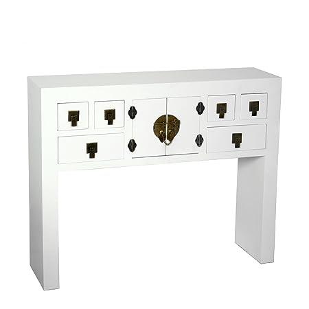 PAME 40637 - Mesa de entrada con 6 cajones y 2 puertas, madera, color blanco