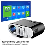 NewPal video projector 3200Lumens andriod led projector with Wifi Bluetooth for home theater projector beamer (Color: GP90UP)