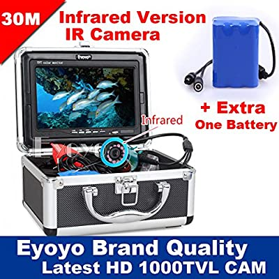 "Eyoyo Original 30m Fish Finder Underwater Fishing Video Camera 7"" Color Monitor 1000TVL HD CAM Infrared lights+Extra One Battery"