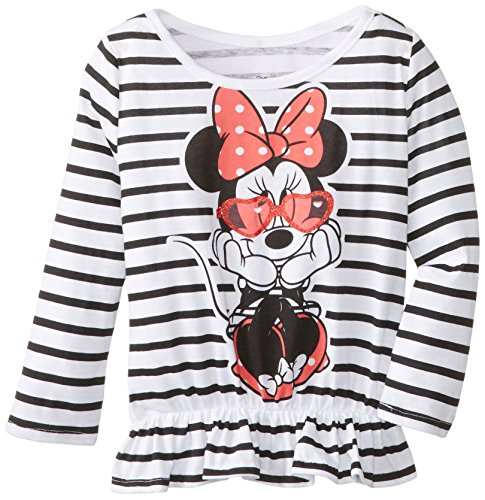 Disney Little Girls' Minnie Mouse Wearing Sunglasses Peplum Top