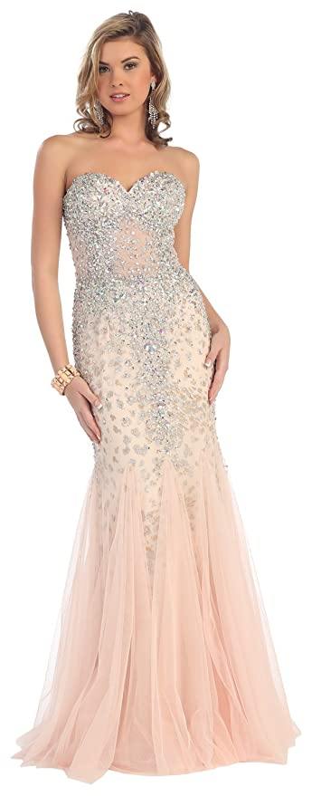 Strapless Prom Rhinestone Mesh Long Dress Formal Gown #7126 (16, Blush)