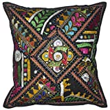Lalhaveli Bright Stunning Floral Design Embroidered Mirror Work Cotton Single Cushion Cover 16 Inches