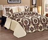 Luxurious 3Pcs Damask Flock Quilted Bedspread / Comforter / Bed Throw set with Matching Pillow Shames - DOROTHY - (Beige with Brown, DOUBLE)