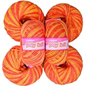 Vardhman Acrylic Knitting Wool, Pack Of 6 (Multi Orange) No.283 (Pack Of 8)