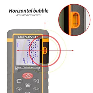DBPOWER Digital Laser Measure 197FT/ 60M , Laser Distance Meter with Backlit LCD Screen, Single-distance Measurement/ Continuous Measurement/ Area/ Pythagorean Modes (Tamaño: 60M2)
