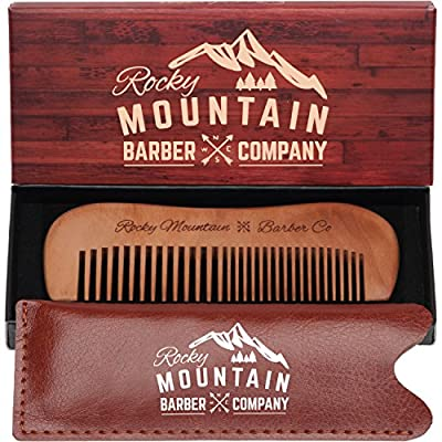 Mustache Comb - Wood with Fine and Medium Tooth for Mustache, Beard, with Carrying Case for Travel & Pocket - Anti-Static and No Tangle