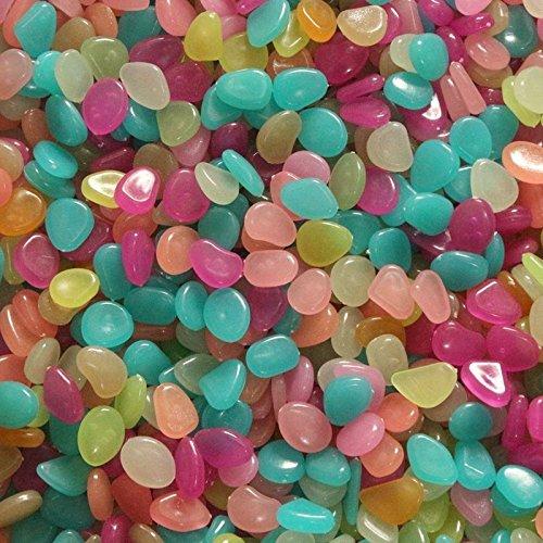 100Pcs Glow In The Dark Stones Pebbles Rock Fish Tank Aquarium Garden Walkway (Pebbles And Bam Bam Halloween Costumes)