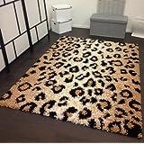 Shaggy Teppich Hochflor Langflor Leo Muster Leopard Beige Creme, Grösse:160x220 cm